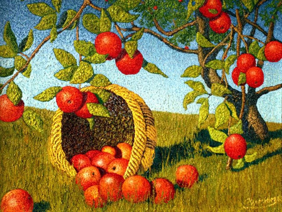 Картинка яблоня с золотыми яблоками в волшебном саду