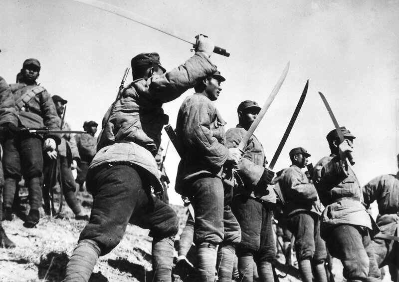 Chinese soldiers from a Big Sword Unit during the Japanese invasion of Jehol Province, China, 1933.