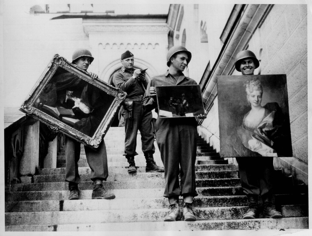 Captain James Rorimer supervising GIs in the returning of art stolen from French Jews by the Germans stored in Neuschwanstein Castle, 1945.