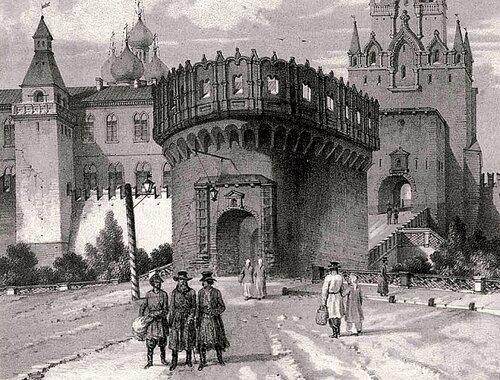 Андре Дюран Кутафья и Троицкая башни. 1839.