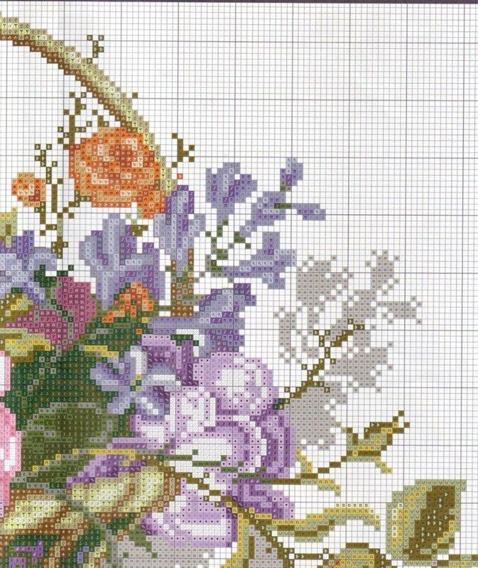 цветы в корзине - схема 2