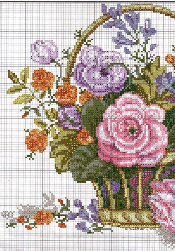 цветы в корзине - схема 1