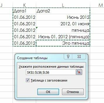 Рис. 158.2. Используйте окно Создание таблицы, чтобы проверить, верно ли Excel определил размерность таблицы