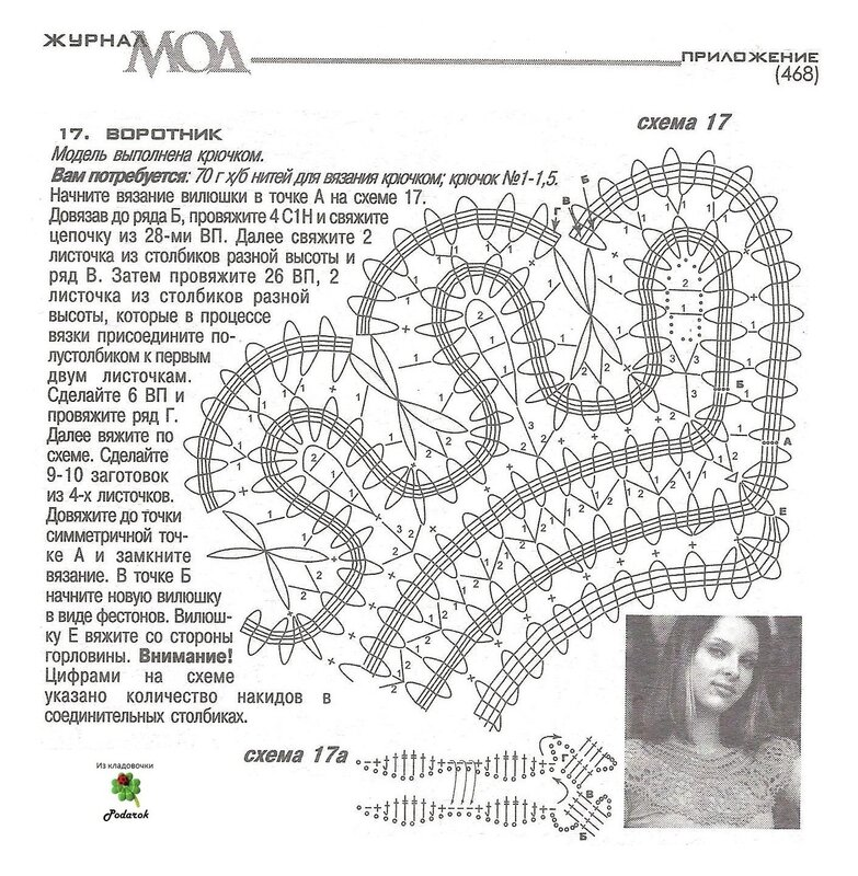 Схемы вязания воротничков крючком с описанием и схемами фото 32