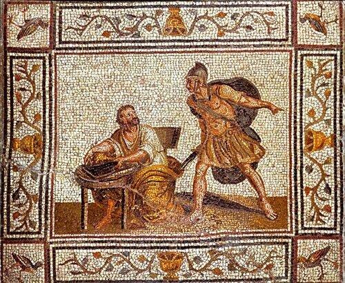 Смерть Архимеда.The Death of Archimedes. Копия 16-го века древней мозаики