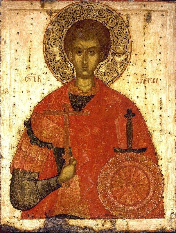 Святой Великомученик Димитрий Солунский. Икона. Псков, XV век.