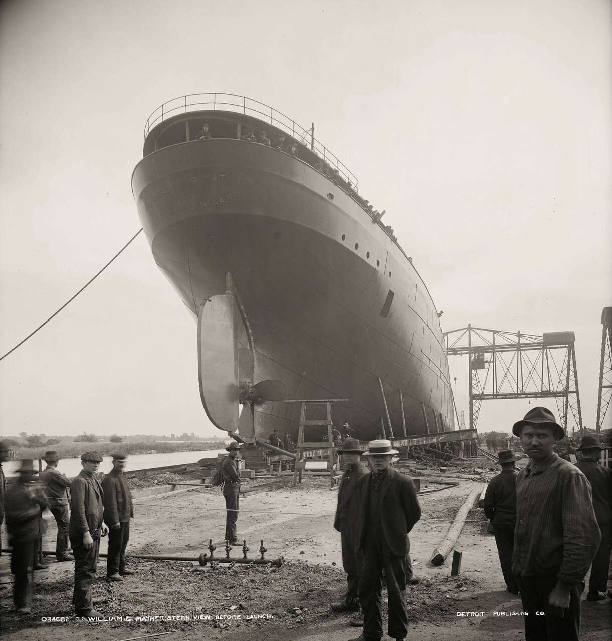 Корабль William G. Mather перед спуском на воду, 1905 г.