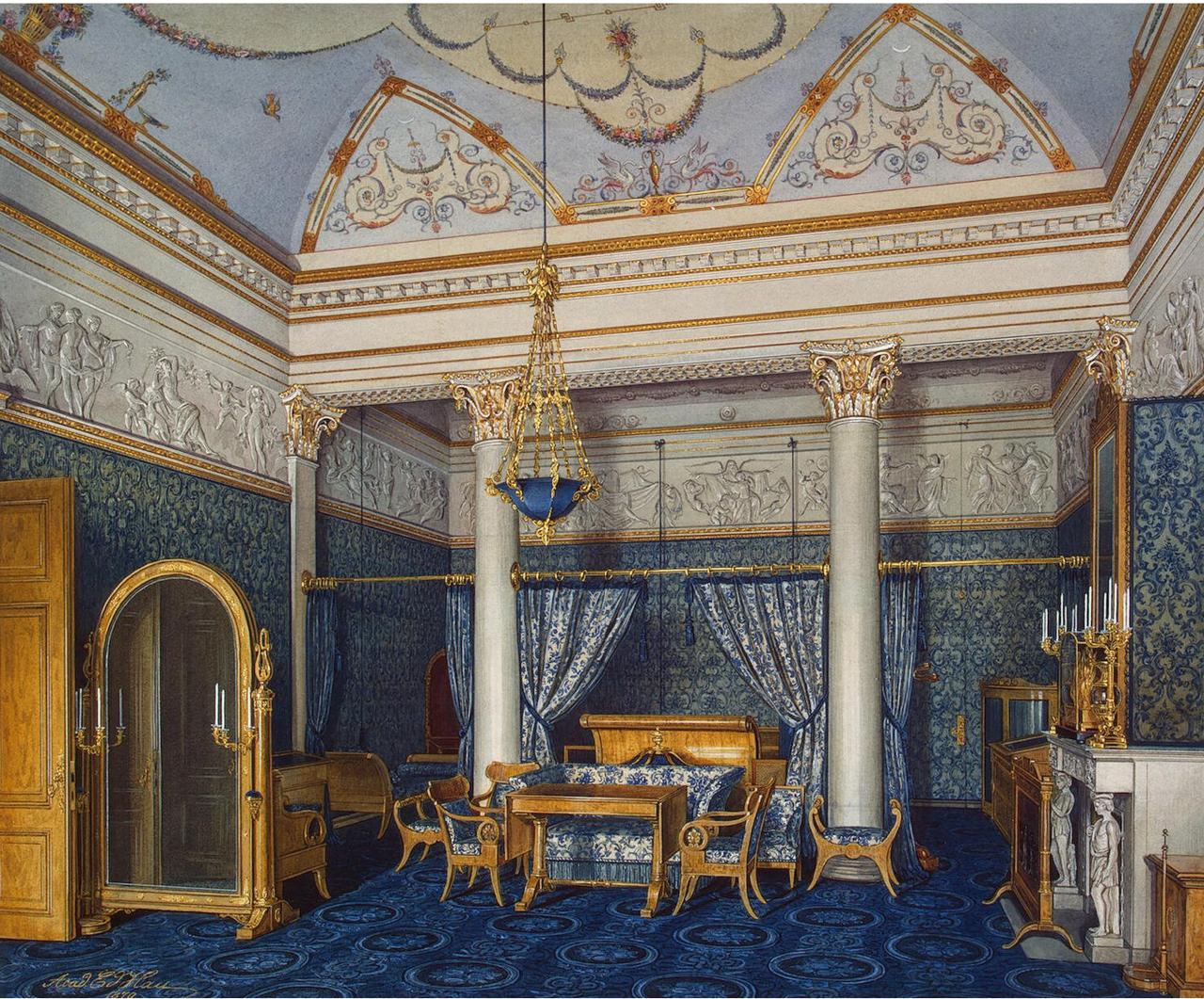 Интерьеры Зимнего дворца. Спальня императрицы Александры Федоровны