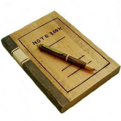 Деревянный блокнот с ручкой