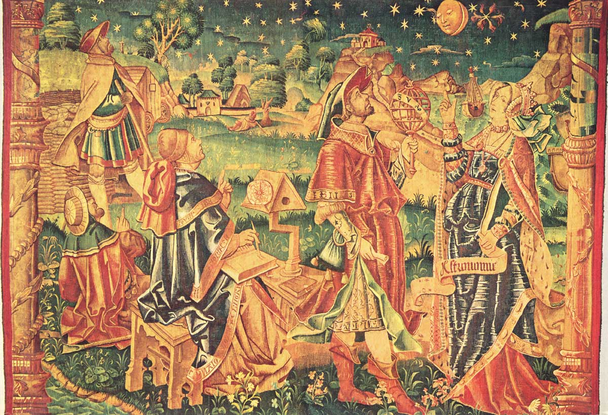 Muse of astrology and astronomy. Robert Harry Ghent. Medieval tapestry.
