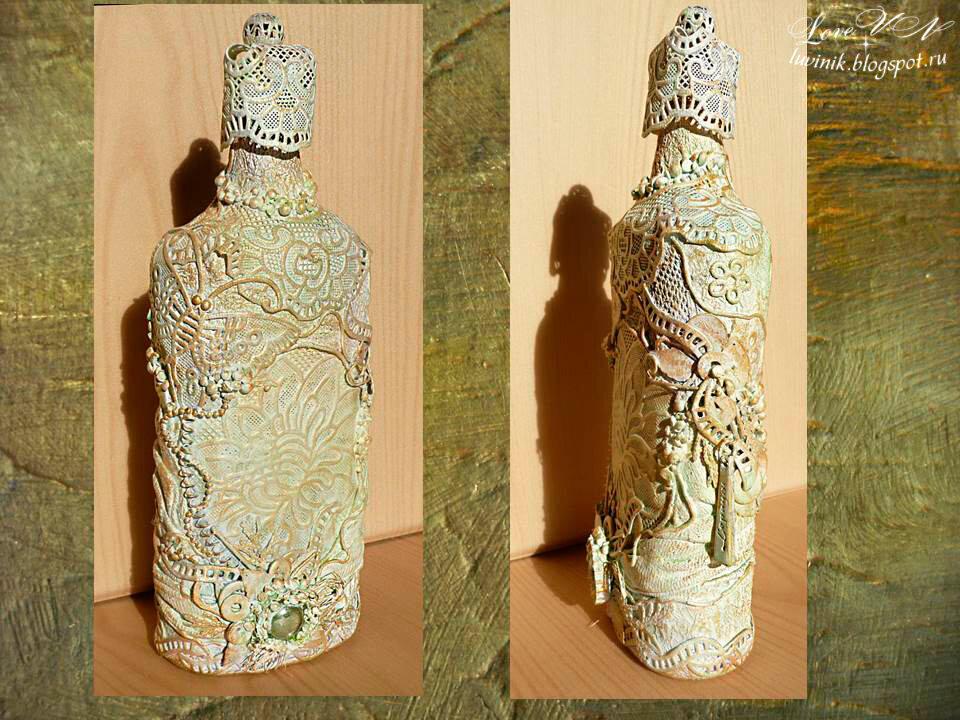 Декор стеклянных бутылок своими руками мастер класс