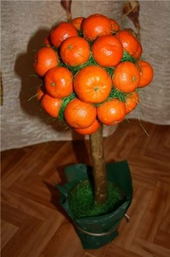 Топиарий из мандаринов своими руками