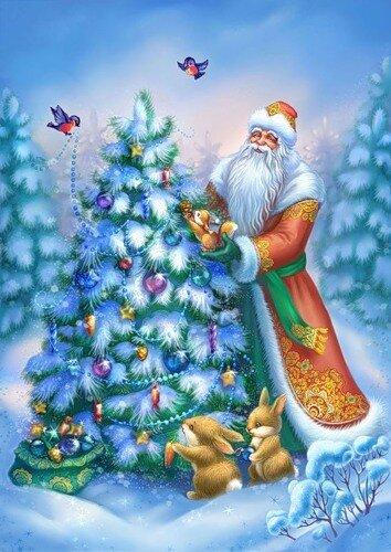 С Новым годом! Дед Мороз украшает елочку в лесу открытка поздравление картинка