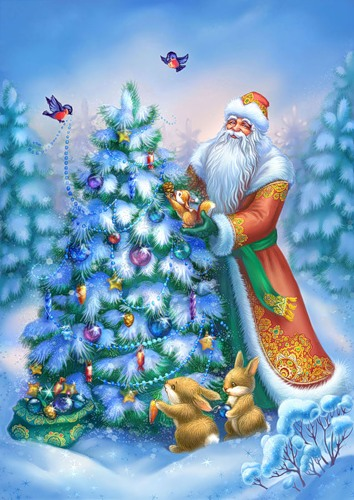 С Новым годом! Дед Мороз украшает елочку в лесу