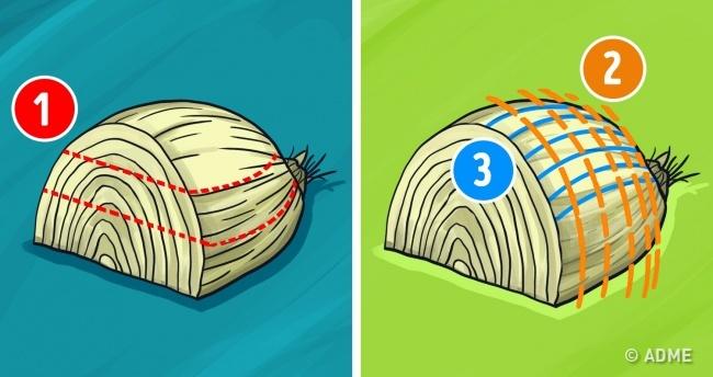Нарезать лук кубиками очень просто: разрежьте луковицу пополам, азатем срежьте верхушку.