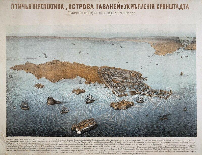 Птичья перспектива, острова гаваней и укрепления Кронштадта (с видом отдаления) на устье Невы и С.-Петербурга. 1855 год.