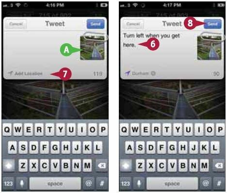 Откроется экран «Твит» (Tweet) с полем твита и прикрепленной фотографией