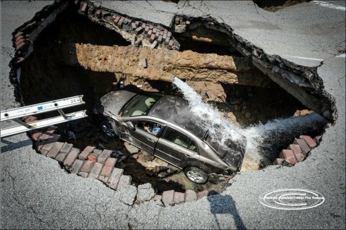 Машина ушла под землю