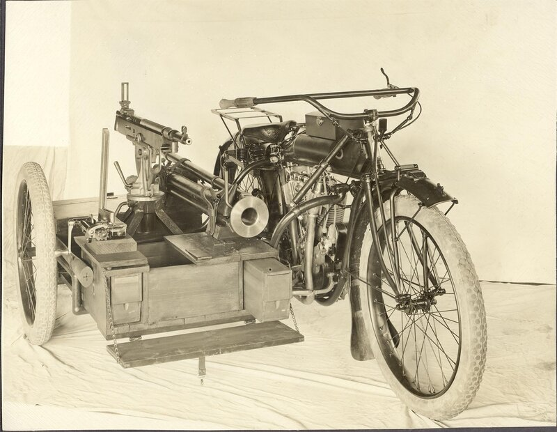 Description - M1895 Colt-Browning machine gun mounted on a motorcycle sidecar.Notes - Stamped on back: