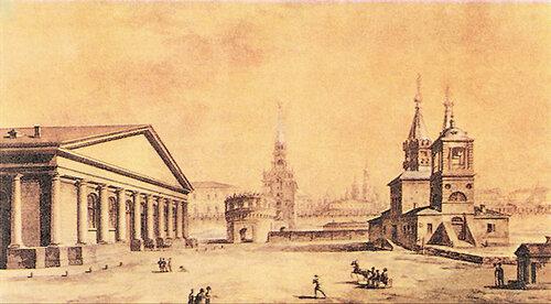 М.Н.Воробьев. Вид Манежа, Кутафьей башни и церкви Николы в Сапожках. 1817 г.
