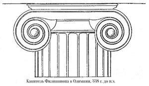 Филиппион в Олимпии (Филиппеум), капитель ионического ордера
