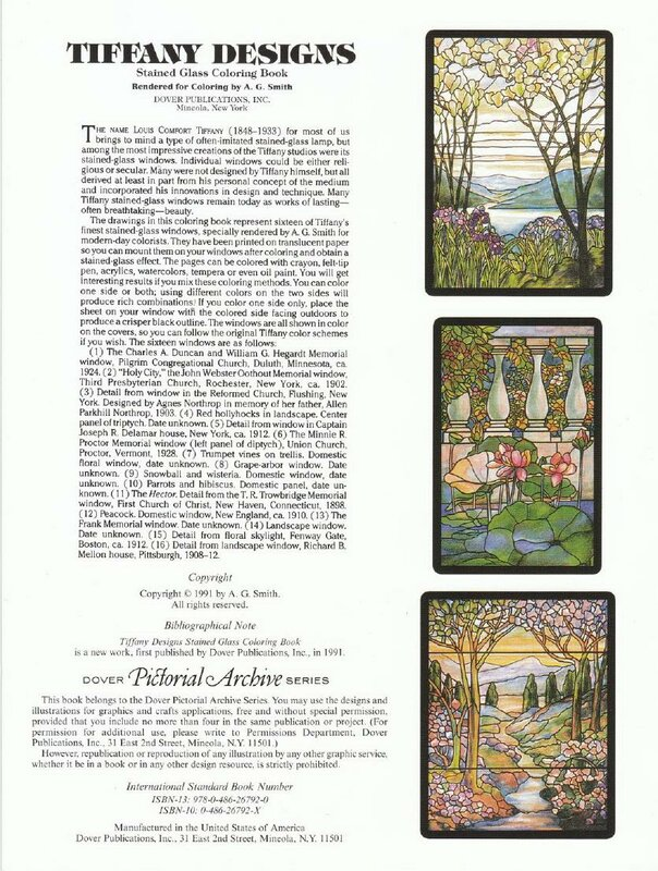 Книга: Tiffany Designs Stained Glass Coloring Book 1991 ...