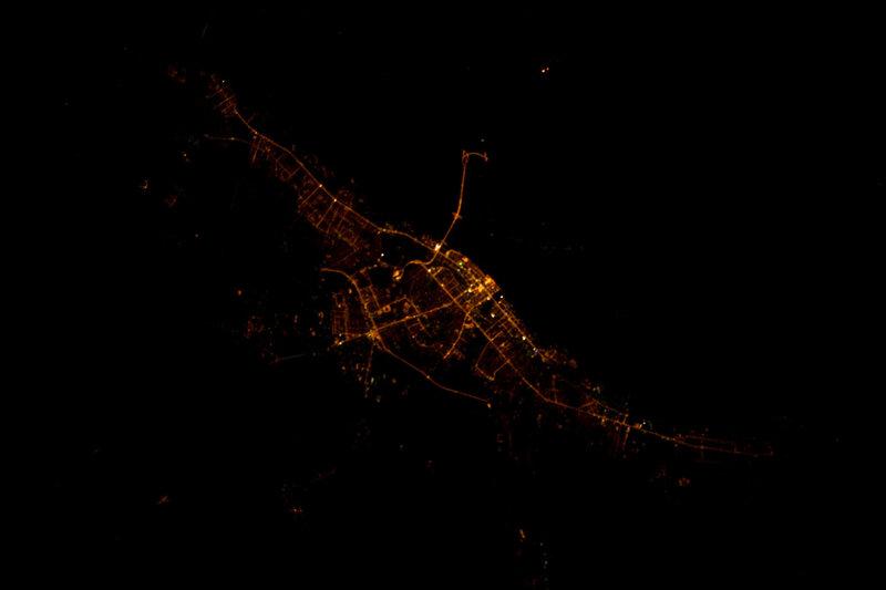 Волгоград ночью из космоса