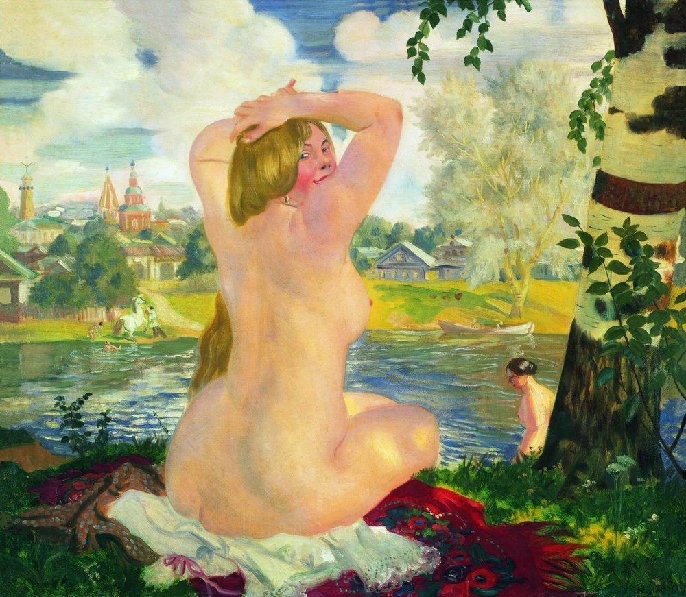 Кустодиев. Купальщица2. 1921