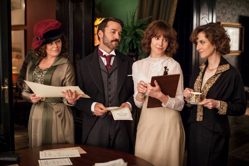 Part ThreeSunday, April 13, 2014 at 9pm ET on PBSThe start of World War I spurs enlistment fever among the male staff. Ladies organize abenefit for refugees. LeClair has a mysterious obsession.Shown from left to right: Polly Walker as Delphine D