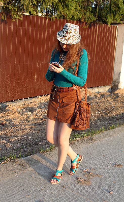 юбка - Pull&Bear, сумка - H&M, сандалии - Laceys London