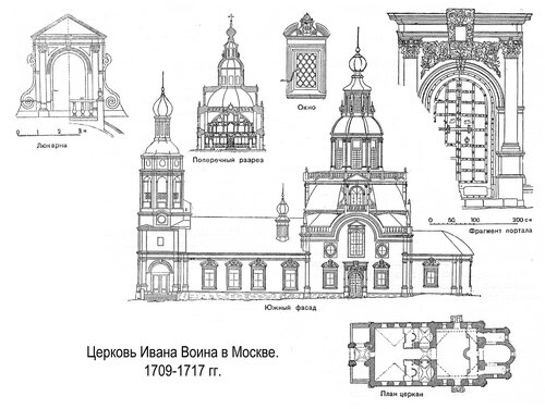 Церковь Ивана Воина в Москве, чертежи