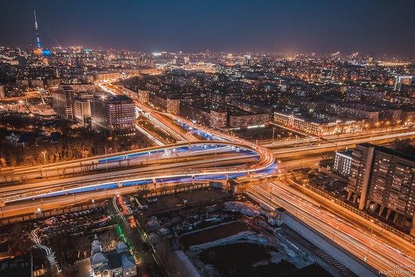 ночной город свысока