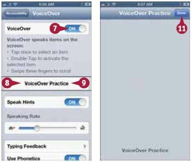 Вокруг кнопки появится рамка, а VoiceOver произнесет ее название