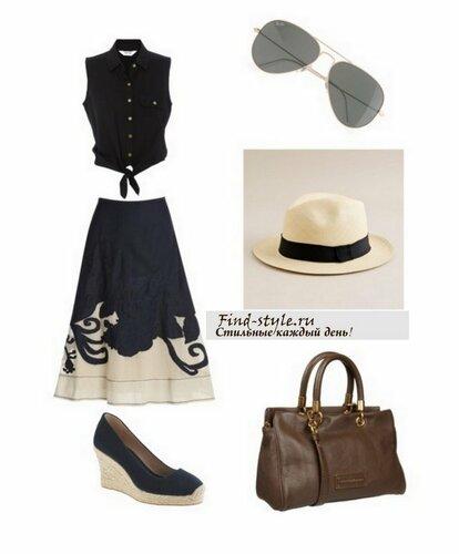 Соломенная шляпка, очки-авиаторы, эспадрильи, вместительная сумка