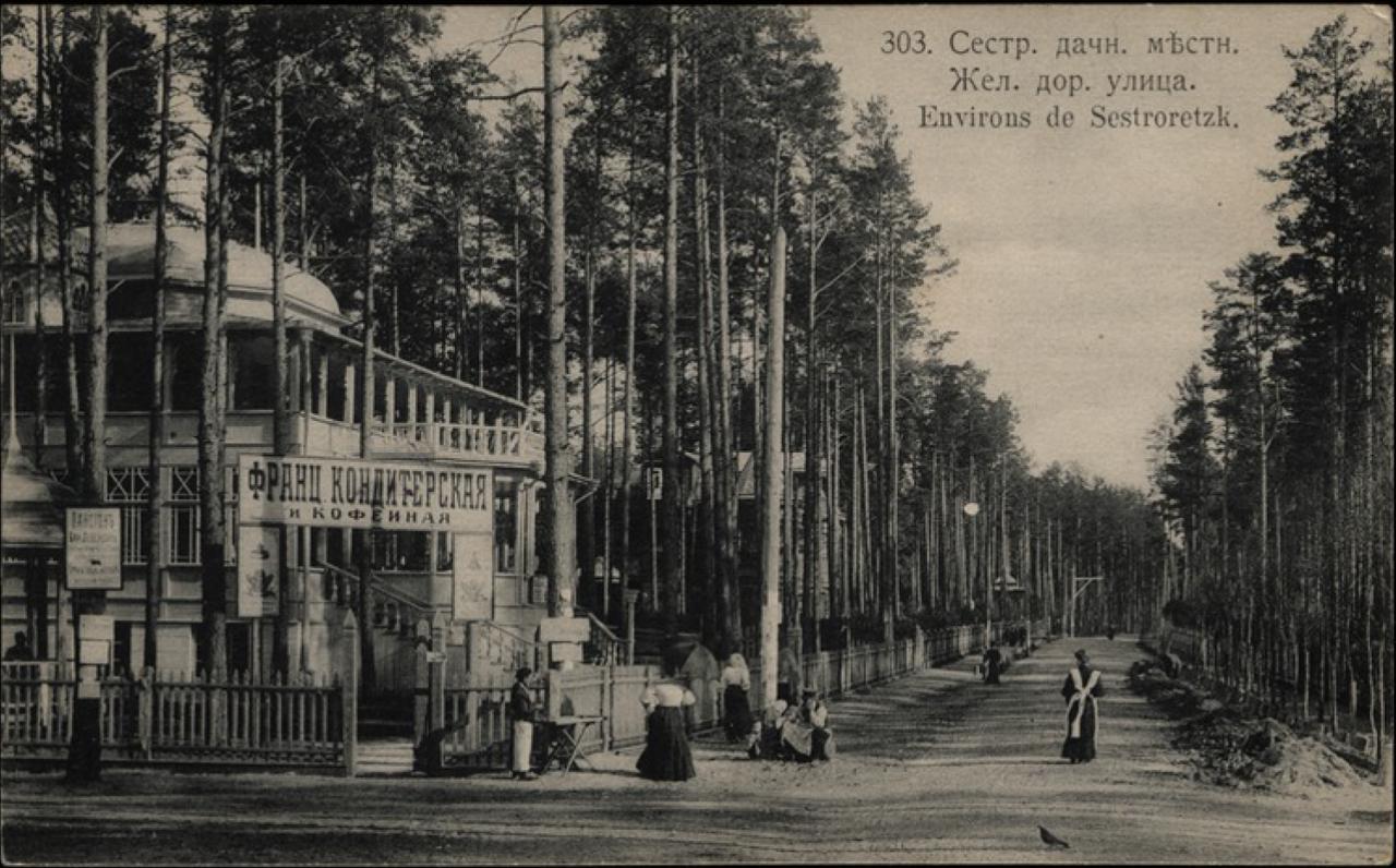Сестрорецкая дачная местность. Вокзал. Железнодорожная улица