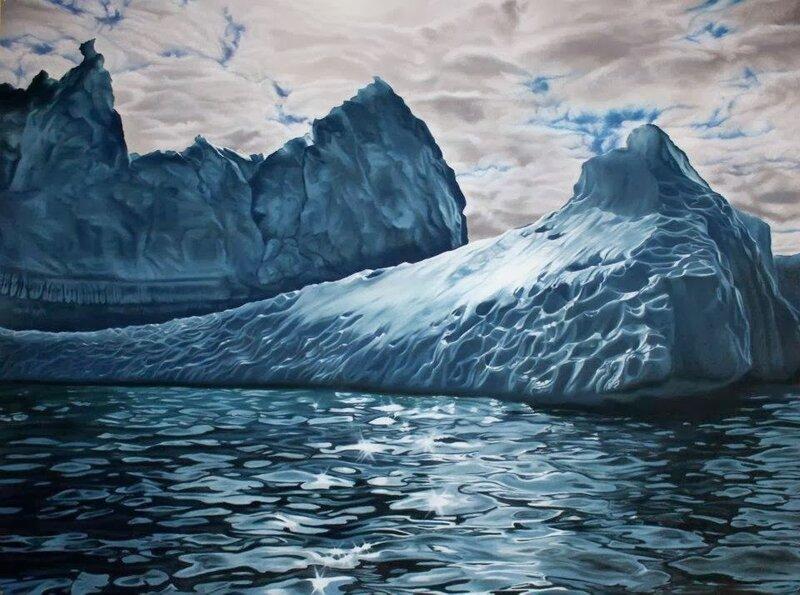Айсберги. Средь голубых волн океана, блестя на солнце белизной... Художница Зарина Форман
