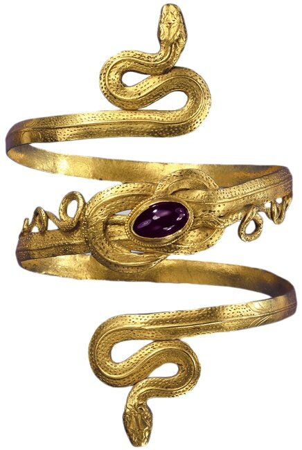 Gold snake bracelet with garnet, from the Greek-Hellenistic period 3rd to 2nd century B.C.