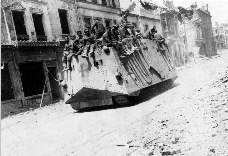 German AV7 tank at Roye, Somme, March 21st, 1918