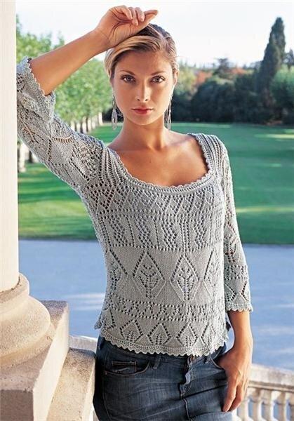 Ажурный пуловер спицами.