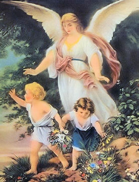 Веселые, открытка ангел и дети на мосту