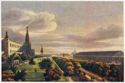 О. Кадоль. Манеж и Кремлевский сад. 1825 г.