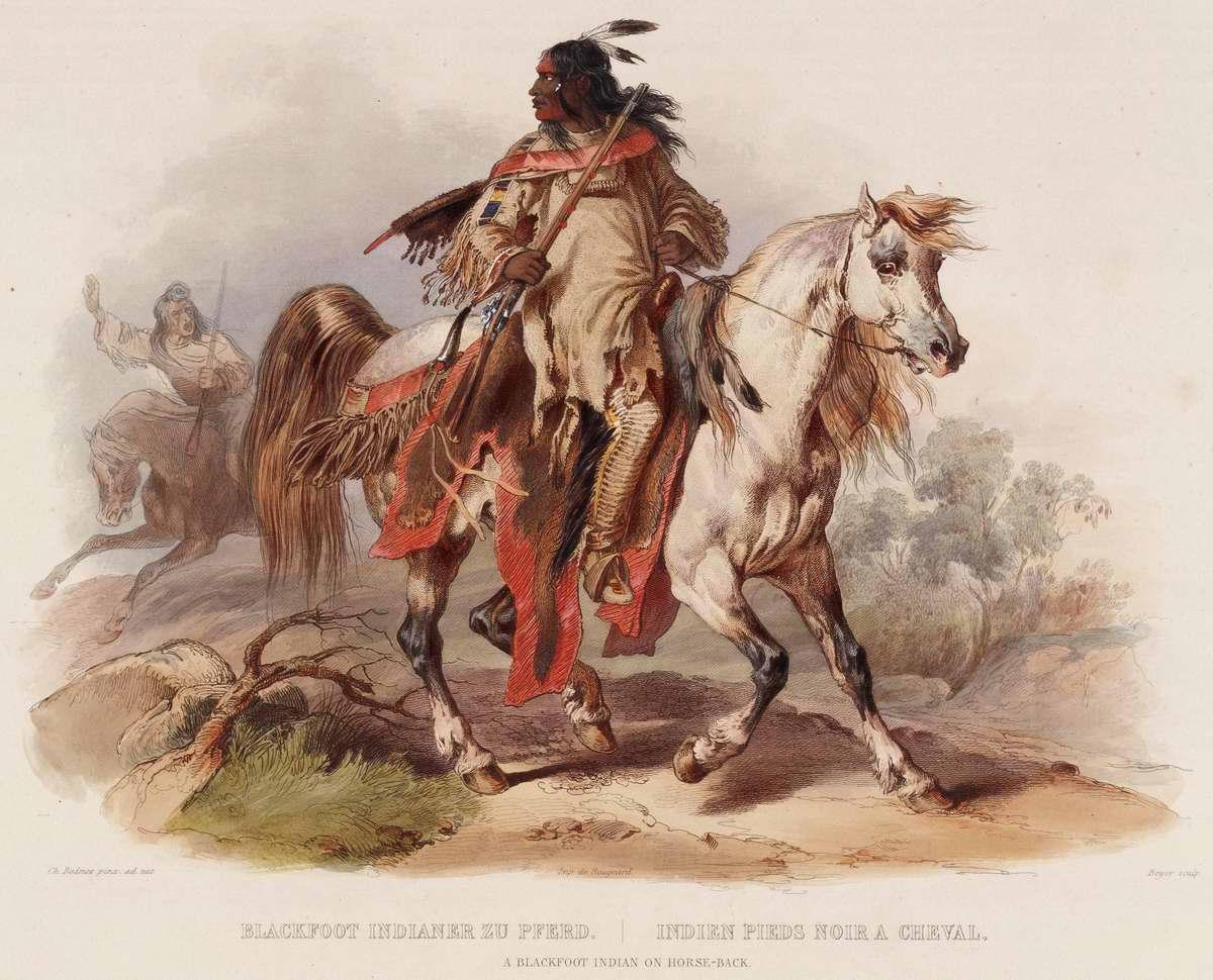 Индеец из племени черноногих верхом на лошади  - Karl Bodmer
