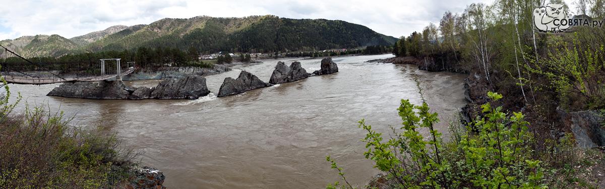 Мост через Катунь, скалы Зубы дракона