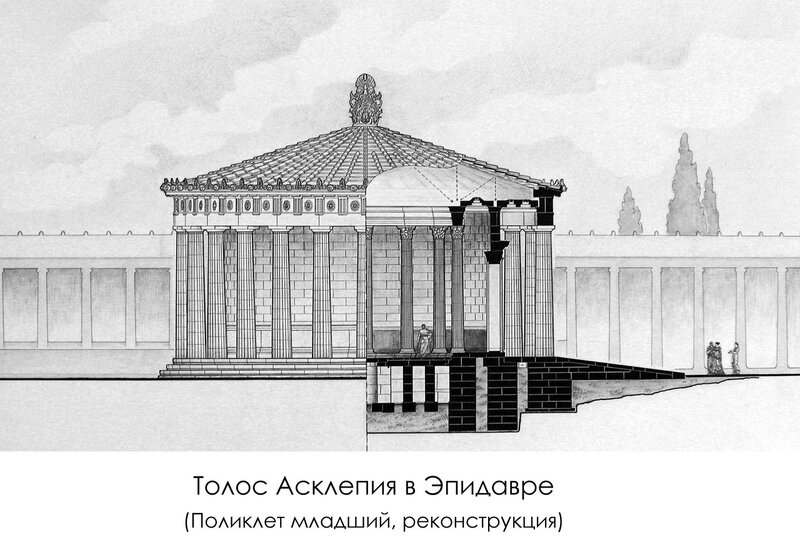 Толос Асклепия в Эпидавре, архитектор - Поликлет младший, фасад и разрез, реконструкция