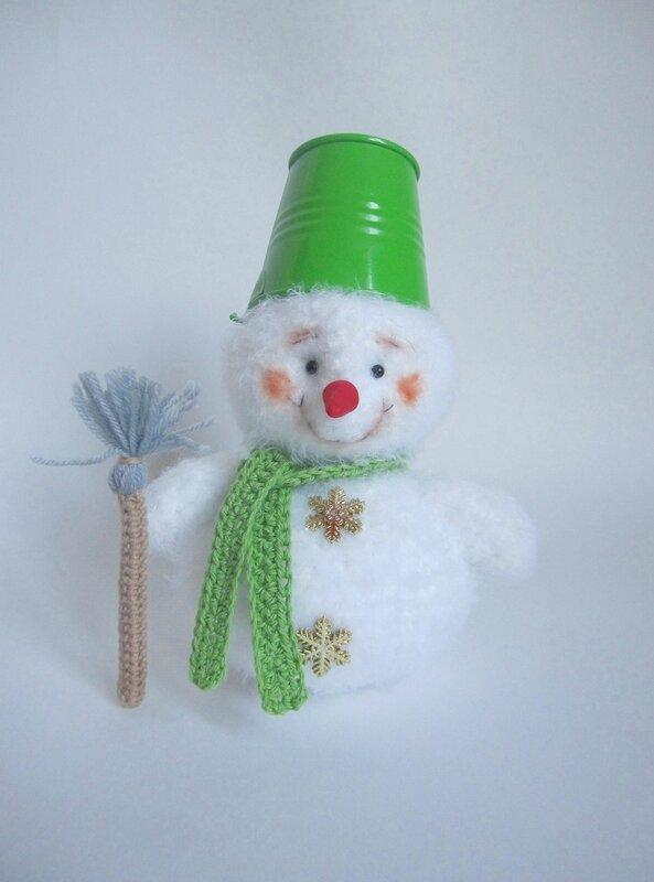 Вязаный снеговик крючком, снеговик, описание вязания снеговика, снеговик крючком, Мк снеговика, вязаный снеговик МК, мастер-класс снеговик,
