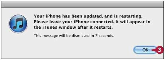 iPhone перезагрузится, а затем вновь появится в списке устройств в iTunes