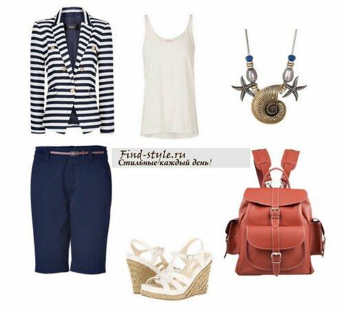 морской стиль, жакет в полоску, колье в морском стиле, украшения в морском стиле