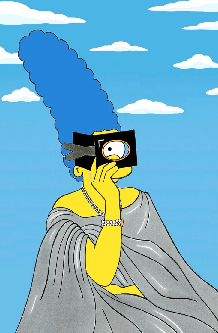 Marge Simpson as a Virginia Oldoini - Style Icons in aleXsandro Palombo illustrations