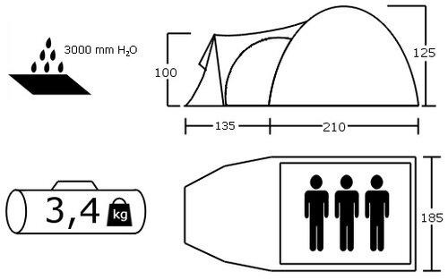 Zelt Monsun 6 : Familienzelt personen campingzelt tunnelzelt camping