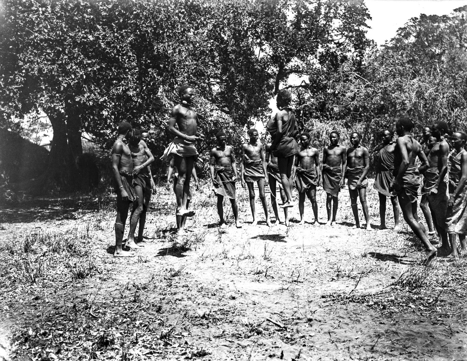 03. Группа людей басонжо во время танца у лагеря Ндалалани. Танцоры прыгают на два фута высотой, вытянув тела